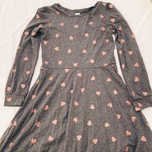 Gap Kids Long Sleeve Hearts Dress Gray Girls XL